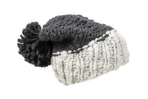 Coarse Knitted Hat with Pompon coal black